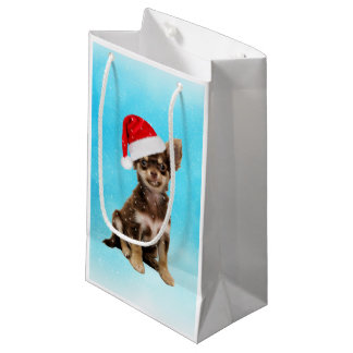 Let it Snow Christmas Chihuahua Dog Wearing Hat Small Gift Bag