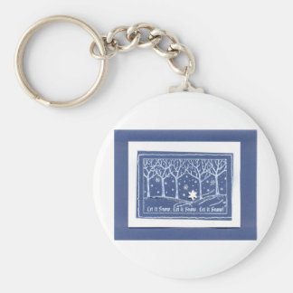 Let it Snow Christmas Holiday Greetings Blue White Basic Round Button Key Ring