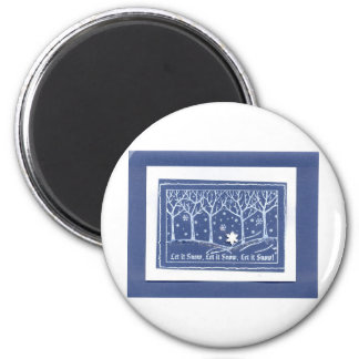 Let it Snow Christmas Holiday Greetings Blue White Fridge Magnets