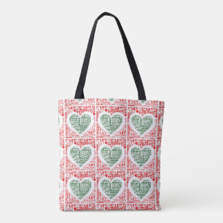 Let It Snow Christmas Red Green Heart Tote Bag
