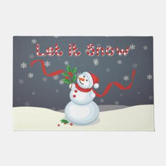 Let It Snow Christmas Snowman Door Mat