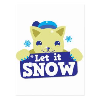 LET IT SNOW cute little kitty Postcard
