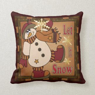 Let it Snow Decorative Vintage Snowman Cushion