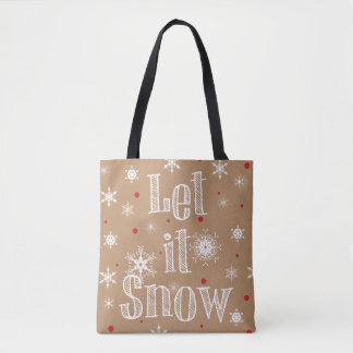 Let it Snow Faux Kraft Paper Look Tote Bag