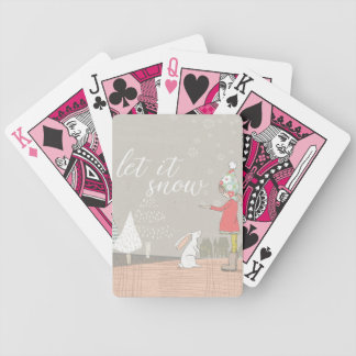 Let it Snow Girl and Bunny Bicycle Playing Cards