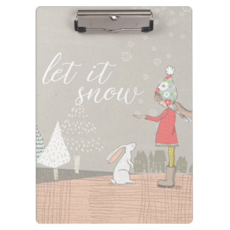 Let it Snow Girl and Bunny Clipboard
