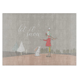 Let it Snow Girl and Bunny Cutting Board