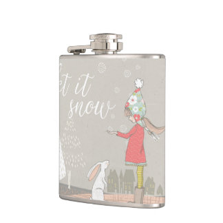 Let it Snow Girl and Bunny Hip Flask