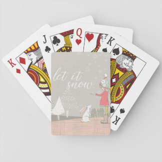 Let it Snow Girl and Bunny Playing Cards