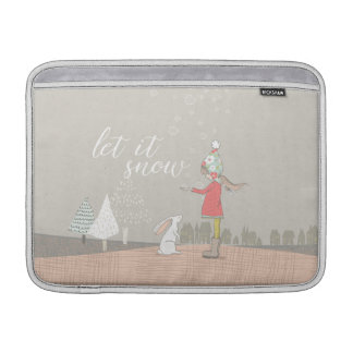 Let it Snow Girl and Bunny Sleeve For MacBook Air
