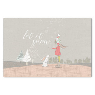 Let it Snow Girl and Bunny Tissue Paper