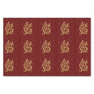 Let It Snow Gold Typography Or Burgundy Red Tissue Paper