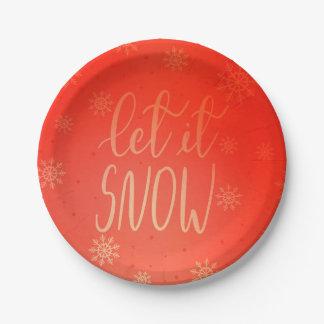 Let It Snow Handwritten Script Bright Red Paper Plate