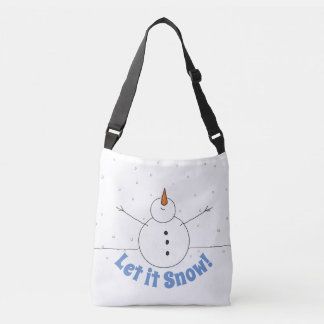 """Let It Snow"" Happy Snowman Crossbody Bag"
