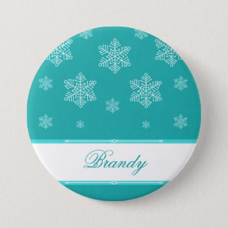Let it Snow Holiday Button, Turquoise 7.5 Cm Round Badge