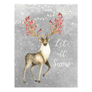 let it snow holiday christmas deer stag postcard