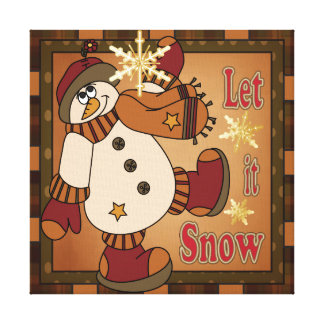 Let it Snow Holiday Snowman  | Christmas Stretched Canvas Prints