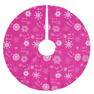 Let It Snow Hot Pink Brushed Polyester Tree Skirt