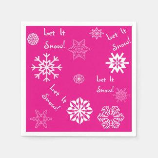 Let It Snow Hot Pink Disposable Napkins