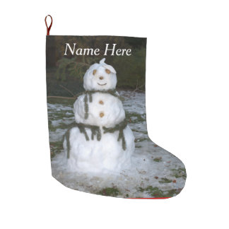 Let it Snow Jolly Snowman Snow Lady Large Christmas Stocking