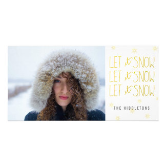 Let It Snow Modern Gold Script Snowflakes Holiday Customised Photo Card