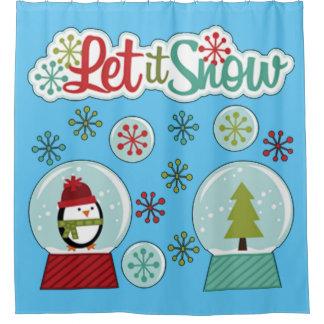 Let It Snow Penguin Shower Curtain