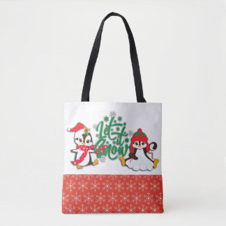 Let It Snow Penguins Tote Bag