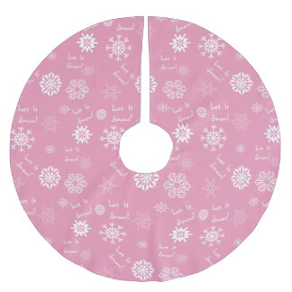 Let It Snow Pink Brushed Polyester Tree Skirt