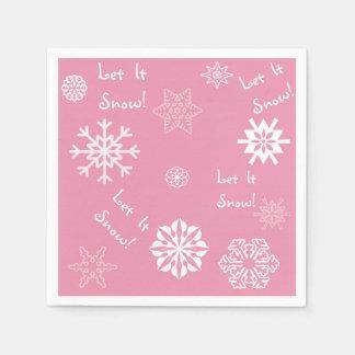 Let It Snow Pink Disposable Napkins