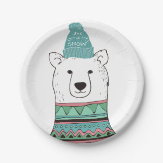 Let It Snow Polar Bear Paper Plate