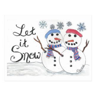 Let It Snow postcard (watercolor & ink)