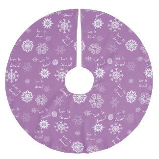 Let It Snow Purple Brushed Polyester Tree Skirt