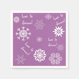 Let It Snow Purple Disposable Napkin