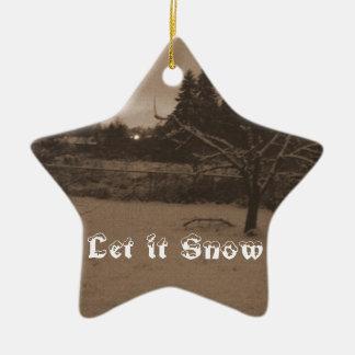 Let it Snow Scene Star Ornament