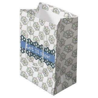 Let it Snow Snowflake Pattern Holiday Medium Gift Bag