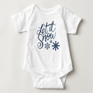 Let it Snow Snowflakes in Blue Faux Glitter Baby Bodysuit
