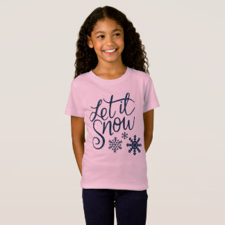 Let it Snow Snowflakes in Blue Faux Glitter T-Shirt
