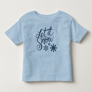 Let it Snow Snowflakes in Blue Faux Glitter Toddler T-Shirt