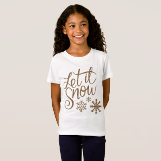 Let it Snow Snowflakes in Gold Faux Glitter T-Shirt