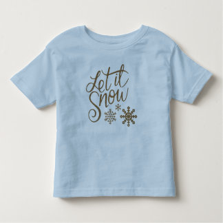 Let it Snow Snowflakes in Gold Faux Glitter Toddler T-Shirt