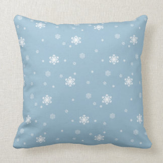 Let it Snow, Snowflakes Pattern on Blue, Winter Cushion