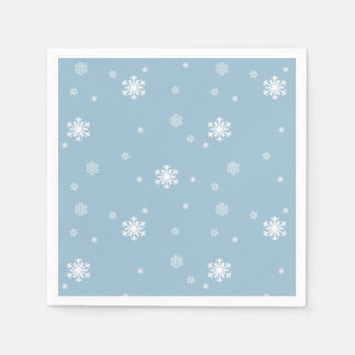Let it Snow, Snowflakes Pattern on Blue, Winter Disposable Serviettes