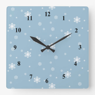 Let it Snow, Snowflakes Pattern on Blue, Winter Square Wall Clock