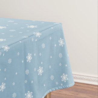 Let it Snow, Snowflakes Pattern on Blue, Winter Tablecloth