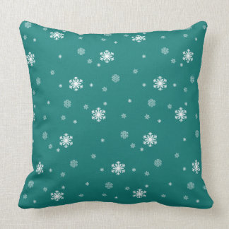 Let it Snow, Snowflakes Pattern on Teal, Snowing Cushion