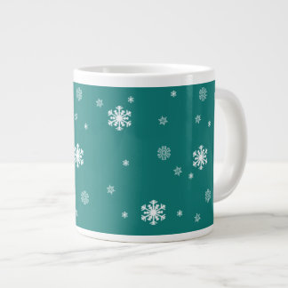 Let it Snow, Snowflakes Pattern on Teal, Snowing Large Coffee Mug