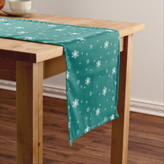 Let it Snow, Snowflakes Pattern on Teal, Snowing Medium Table Runner