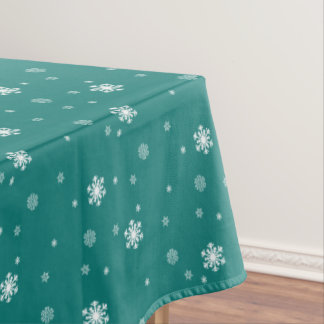 Let it Snow, Snowflakes Pattern on Teal, Snowing Tablecloth