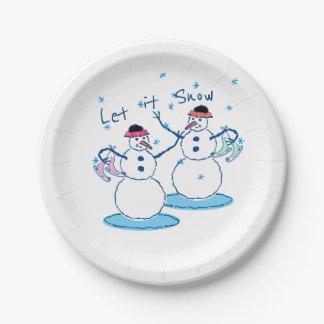 Let it Snow Snowladies Paper Plate