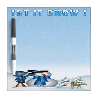"Let It Snow Snowman Dry Erase Board 8"" x 8"""